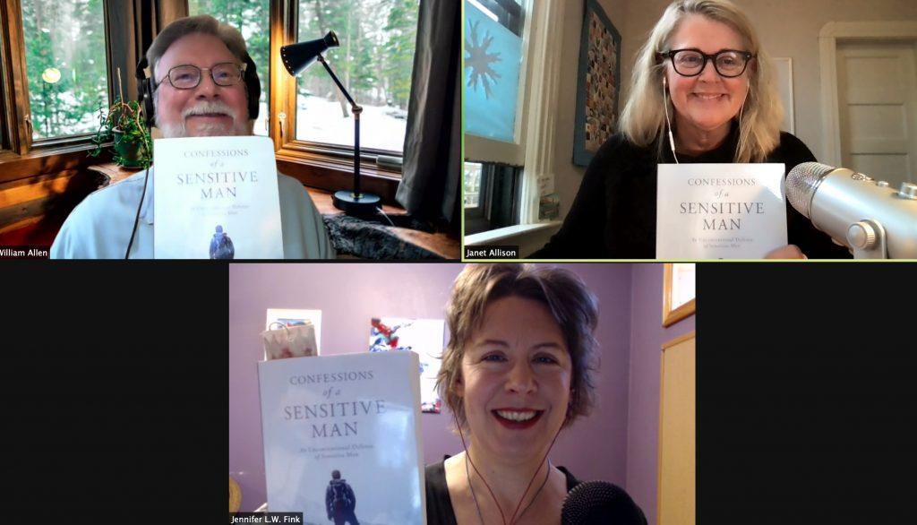 William Allen, Janet Allison & Jennifer Fink, holding copies of William Allen's book, Confessions of a Sensitive Man